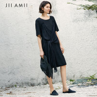 JII AMII夏季连衣裙女2018新款文艺范不对称宽松拼接中长款T恤裙