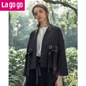 Lagogo/拉谷谷2018春季新款直筒纯色长袖外套