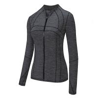 修身运动外套女跑步长袖上衣速干瑜伽服性感拉链开衫健身服秋季S