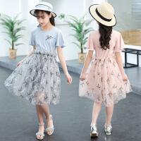 新款连衣裙中大童时尚拼接纱裙子女孩潮