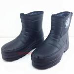 冬季棉雨鞋防滑厚底EVA一体保暖加绒防水鞋男女士厨房洗车雪地靴 黑色 806款