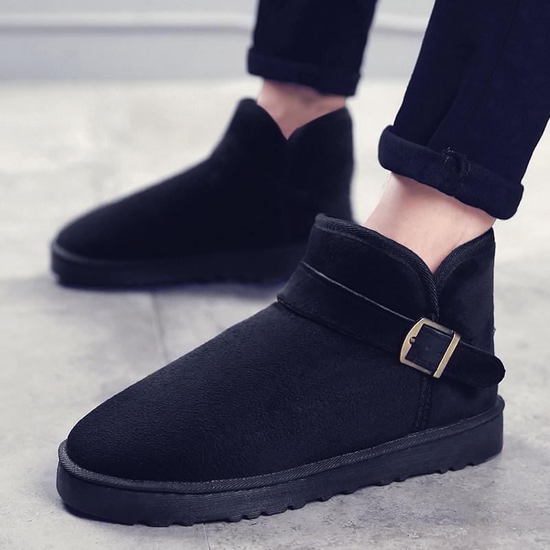 冬季加绒保暖男鞋短筒靴男雪地靴男士棉鞋情侣棉靴韩版潮流男靴子srr