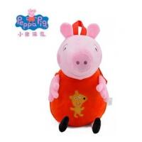 正版社会人小猪佩奇儿童书包幼儿园1-3岁男女孩卡通毛绒双肩背包 送斜挎包+贴纸两张+红色 正版44cm
