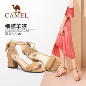骆驼女鞋 2018夏季新品 摩登优雅蝴蝶结一字带韩版高跟凉鞋女
