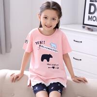 儿童睡衣女童夏季短袖薄款女孩宝宝卡通中大童家居服套装