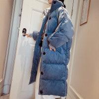 灯芯绒女中长款过膝加厚棉袄2018新款韩版宽松棉衣外套