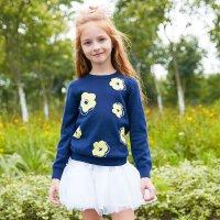【1件3折到手价:29.97】美特斯邦威女童毛衫新款儿童圆领长袖针织衫中大童提花毛衣