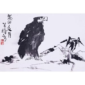 书画家、美术教育家   李苦禅《鹰石图》