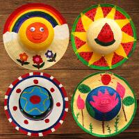 手工草帽diy材料 幼儿园儿童涂鸦帽子制作创意画手绘彩绘绘画玩具