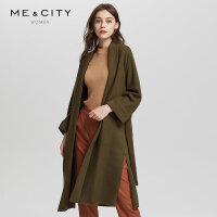 【2件1.5折价:209.9,25日0点可叠券】纯羊毛MECITY女高冷气质中长款收腰系带外套大衣