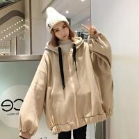 秋冬新款韩版连帽加厚加绒中长款卫衣学生外套女拉链宽松蝙蝠袖潮