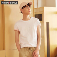 【满1000减750】美特斯邦威短袖T恤男士夏季新款纯色纯棉百搭鲨鱼印花T恤潮