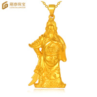 刚泰珠宝 3D硬金黄金男士吊坠男款足金项坠霸气大刀关公 武财神