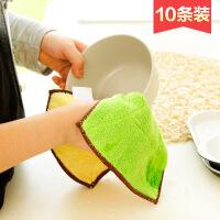 加厚吸水抹布10条装不沾油清洁布洗碗巾厨房不掉毛擦碗毛巾洗碗布 图片色