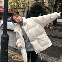 女冬韩版宽松短款ins面包服羽绒棉袄外套潮 米白色 年后发