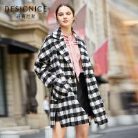 【参考到手价:320元】迪赛尼斯2017冬装新款格子翻领大衣修身休闲潮韩版毛呢外套女