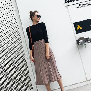 针织百褶裙女秋冬2018新款韩版高腰半身裙长裙中长款大码加厚裙子