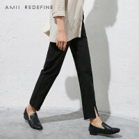 [AMII东方极简] JII AMII2018春装新款女装修身黑色高腰直筒裤开叉休闲九分裤