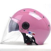 摩托车头盔男女夏季电动车轻便半盔双镜片防紫外线防晒安全帽 均码