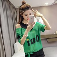 字母T恤女春夏新款韩版露肩宽松假两件圆领短袖上衣打底衫学生潮