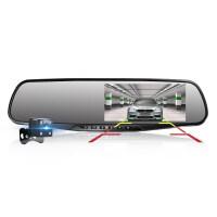 新款汽车载行车记录仪双镜头24小时监控高清夜视全景倒车影像 黑色 标配