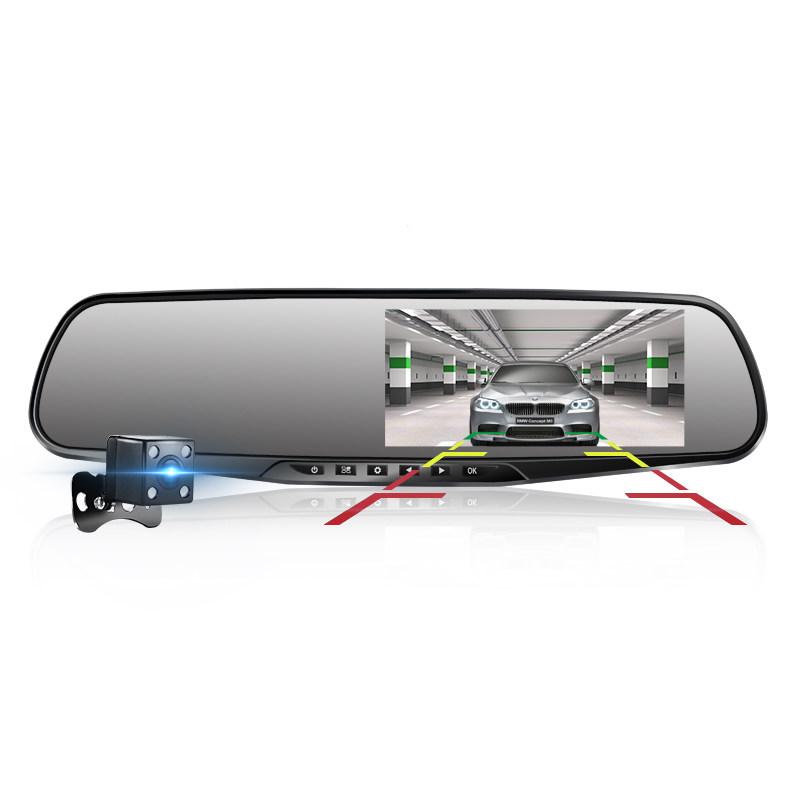 新款汽车载行车记录仪双镜头24小时监控高清夜视全景倒车影像 黑色 标配 前后双录 倒车影像 固定测速 循环录像