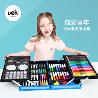 uek儿童绘画套装水彩笔画画工具幼儿园小学生美术蜡笔彩色可水洗小学生宝宝儿童用蜡笔美术专业手绘涂鸦礼盒