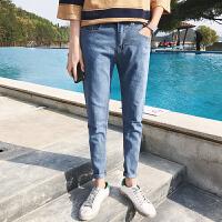 牛仔裤男士休闲长裤子韩版修身潮流小脚裤2018春季新款青少年男裤 蓝色