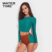 复古游泳衣女分体平角长袖高腰显瘦浮潜水服泳装