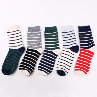 袜子男袜中筒秋冬季运动透气棉袜子男条纹学生长筒袜