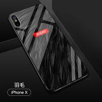 苹果XS玻璃壳iphone6s彩绘手机壳苹果8保护壳7P男女6卡通手机套X