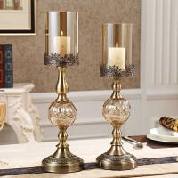 美式餐桌样板房软装饰品摆件欧式烛光晚餐道具水晶金属蜡烛台