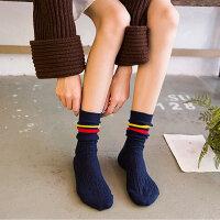 条纹麻花两条杠运动中筒袜子女士棉英伦学院风拼色少女堆堆袜