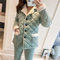 秋冬季加厚睡衣女套装珊瑚绒超厚加绒保暖夹棉三层甜美可爱家居服