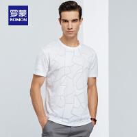 【单品限时秒杀价:74】罗蒙男士短袖T恤衫中青年时尚印花打底衫2020夏季新款圆领镂空t恤