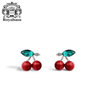 皇家莎莎红色可爱樱桃耳钉女韩国气质个性仿水晶耳饰耳坠时尚耳环