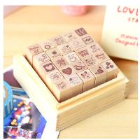 DIY相册专用韩国funnyman可爱日记本表情装饰印章木盒装25枚