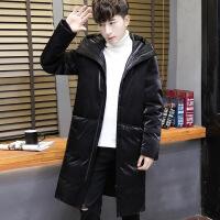 金丝绒加厚羽绒服男中长款冬季保暖韩版修身款羽绒潮流男装外套 黑色
