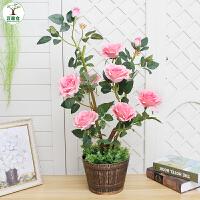 仿真花客厅装饰大型植物落地花假花盆景室内摆设塑料玫瑰花假盆栽
