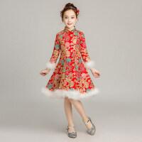 2018新款女童红色中式长袖加厚加绒旗袍裙儿童古筝演出服连衣裙冬 中国色