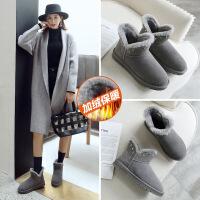 ZHR雪地靴女真皮INS韩版百搭短筒小短靴加绒棉鞋2018冬季新款