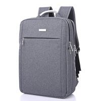 双肩包男商务背包电脑包女男士小米时尚潮流帆布韩版 灰色 横款6808