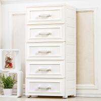 加厚白色抽屉式收纳柜欧式储物箱宝宝婴儿童衣柜塑料五斗柜子5层 珍珠白 【加厚款】