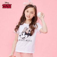 迪士尼米奇米妮童装女童夏装2020春夏新品短袖印花T恤白色