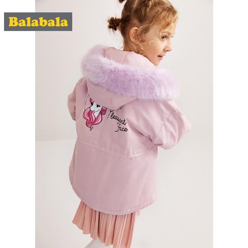 【2件4折价:143.6】巴拉巴拉女童棉衣新款冬季童装大童棉服棉袄加厚连帽韩版洋气