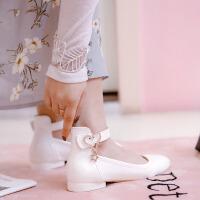 儿童黑色皮鞋女童皮鞋春款小女孩水钻公主鞋学生演出鞋单鞋花童鞋SN0520 30 订做三天