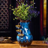陶瓷流水摆件喷泉加湿器客厅招财桌面装饰花瓶简约创意工艺摆件