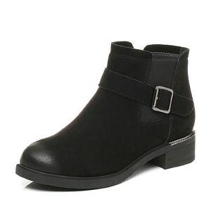 Belle/百丽2017冬新品休闲舒适羊皮女短靴87202DD7