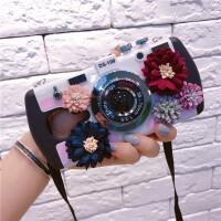 美图T8S布艺花朵照相机m6M8S手机壳全包防摔挂绳软创意保护套外潮 美图T8T8S 粉色