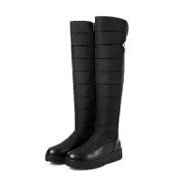 过膝长靴拉链棉鞋保暖加厚防水防滑厚底羽绒雪地靴女高筒靴女大码SN7568 35 标准码